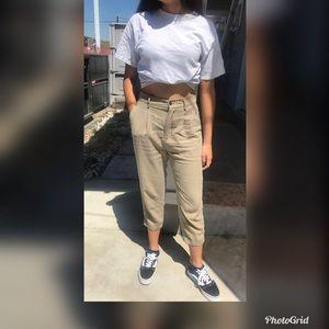 Zara Woman high waisted khaki trousers